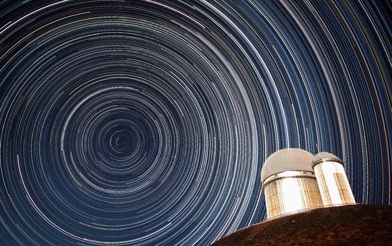 Полярная звезда при большой выдержке