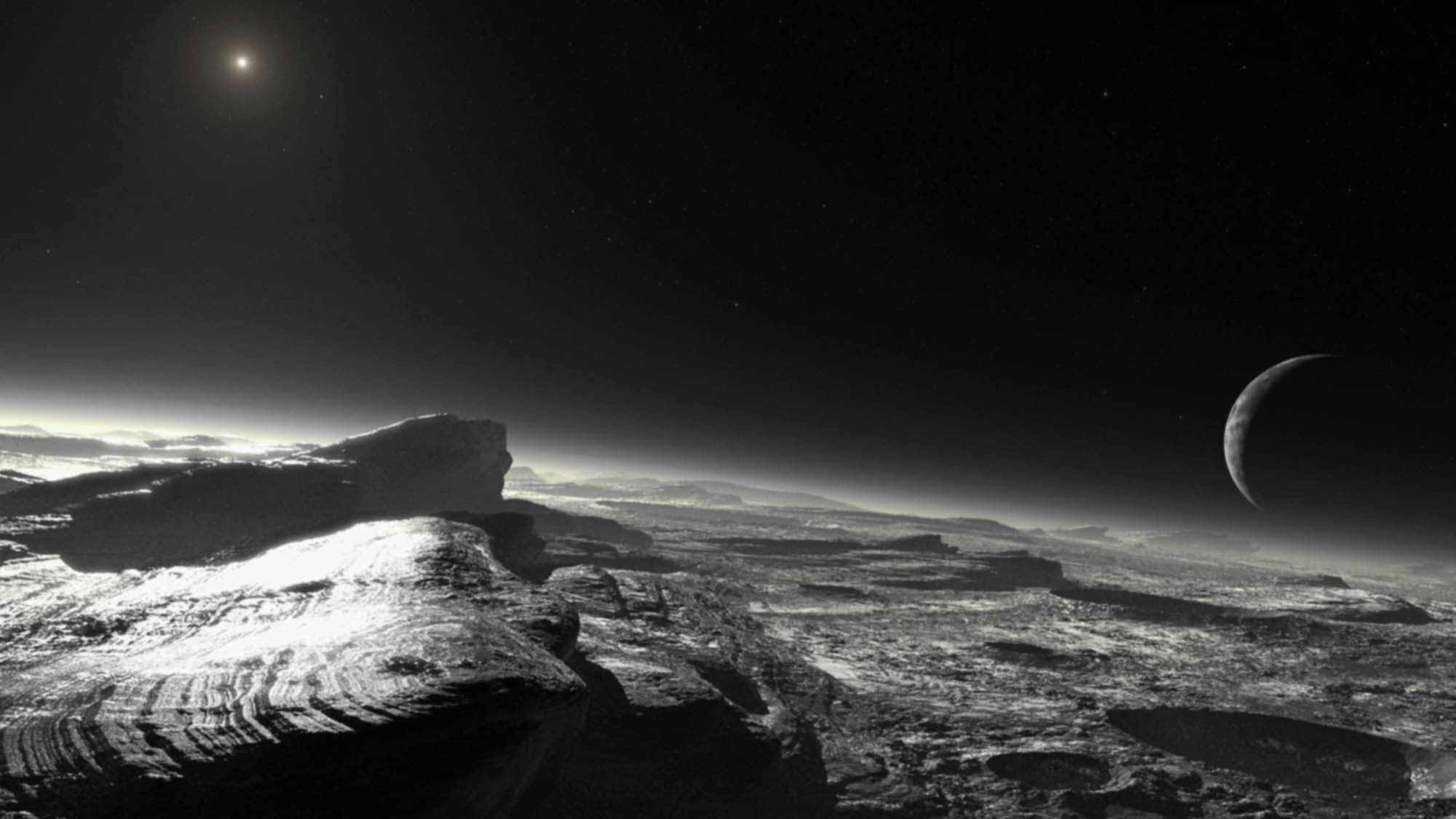 Художественное представление поверхности Плутона, его спутника Харона (справа) и Солнца (слева вверху)