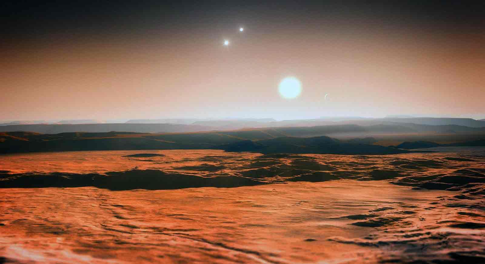 Художественное изображение рассвета в системе из 3 и более звёзд
