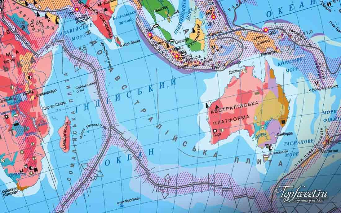 Карта литосферных плит в Австралийском регионе