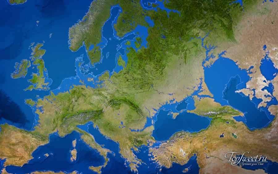 Вероятная карта Европы, если бы растаяли все ледники