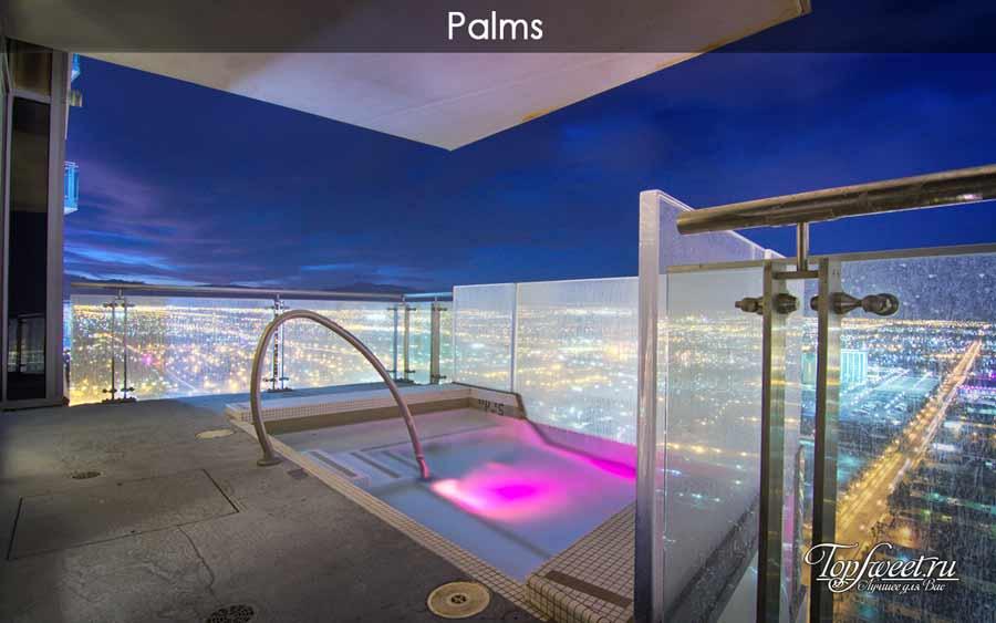 Джакузи на верхнем этаже здания отеля Palms