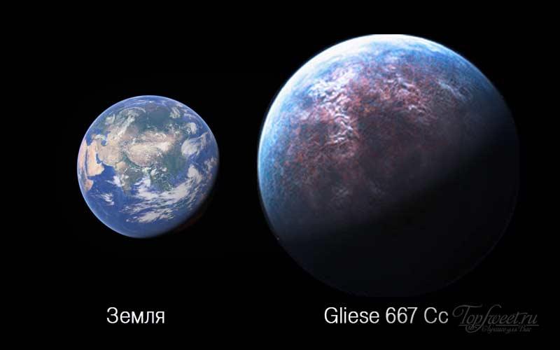 Сравнительные размеры Земли и планеты Gliese 667 Cc